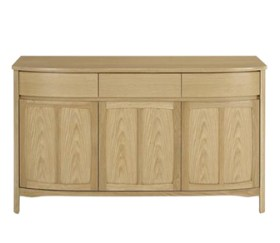 Shades Oak Shaped 3 Door Sideboard
