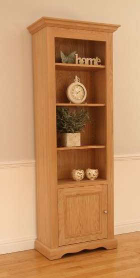 click to view pelham narrow bookcase with door