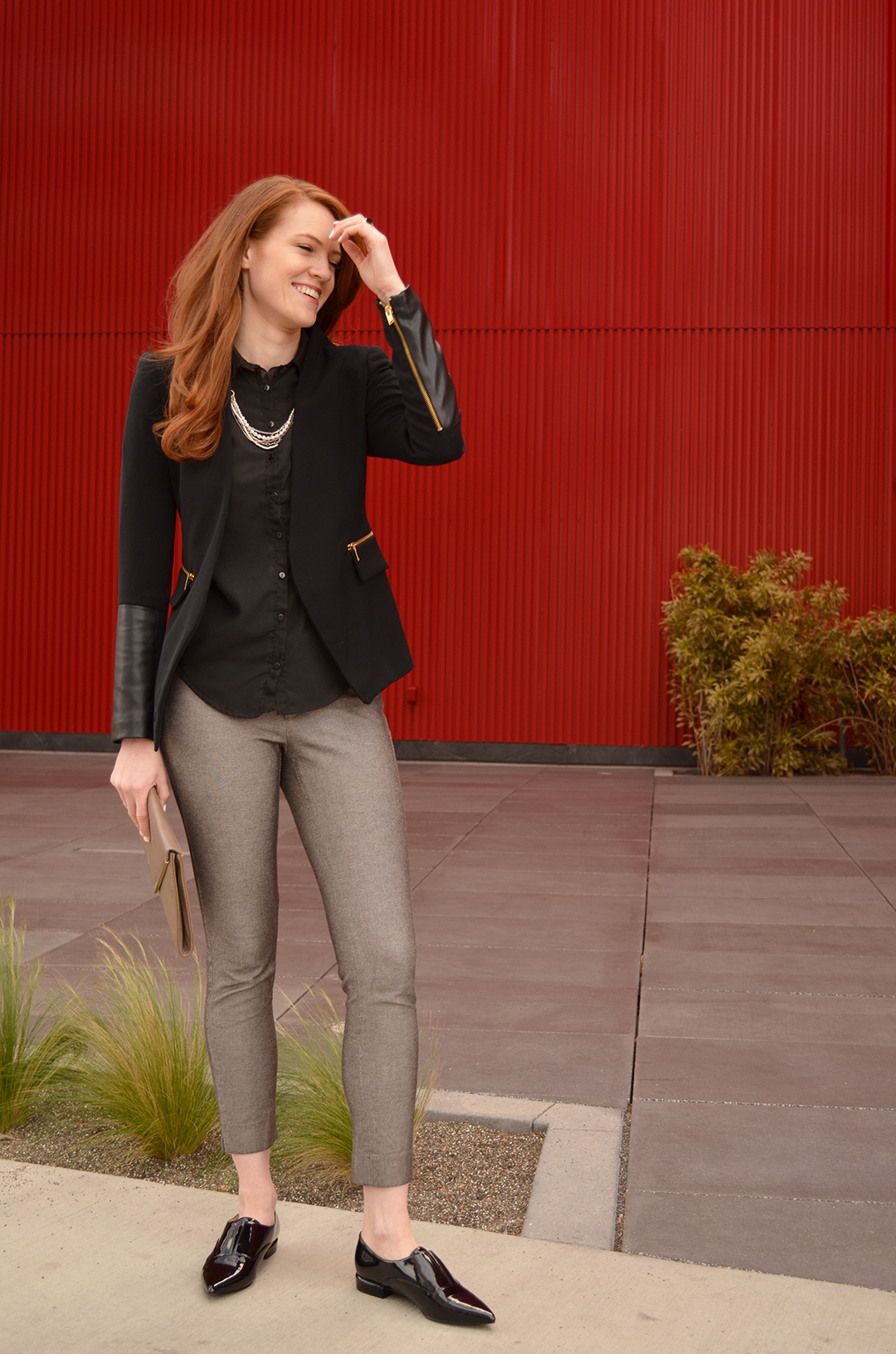 black blazer, grey crop pants, pointed loafers | www.WhitneyHoy.com