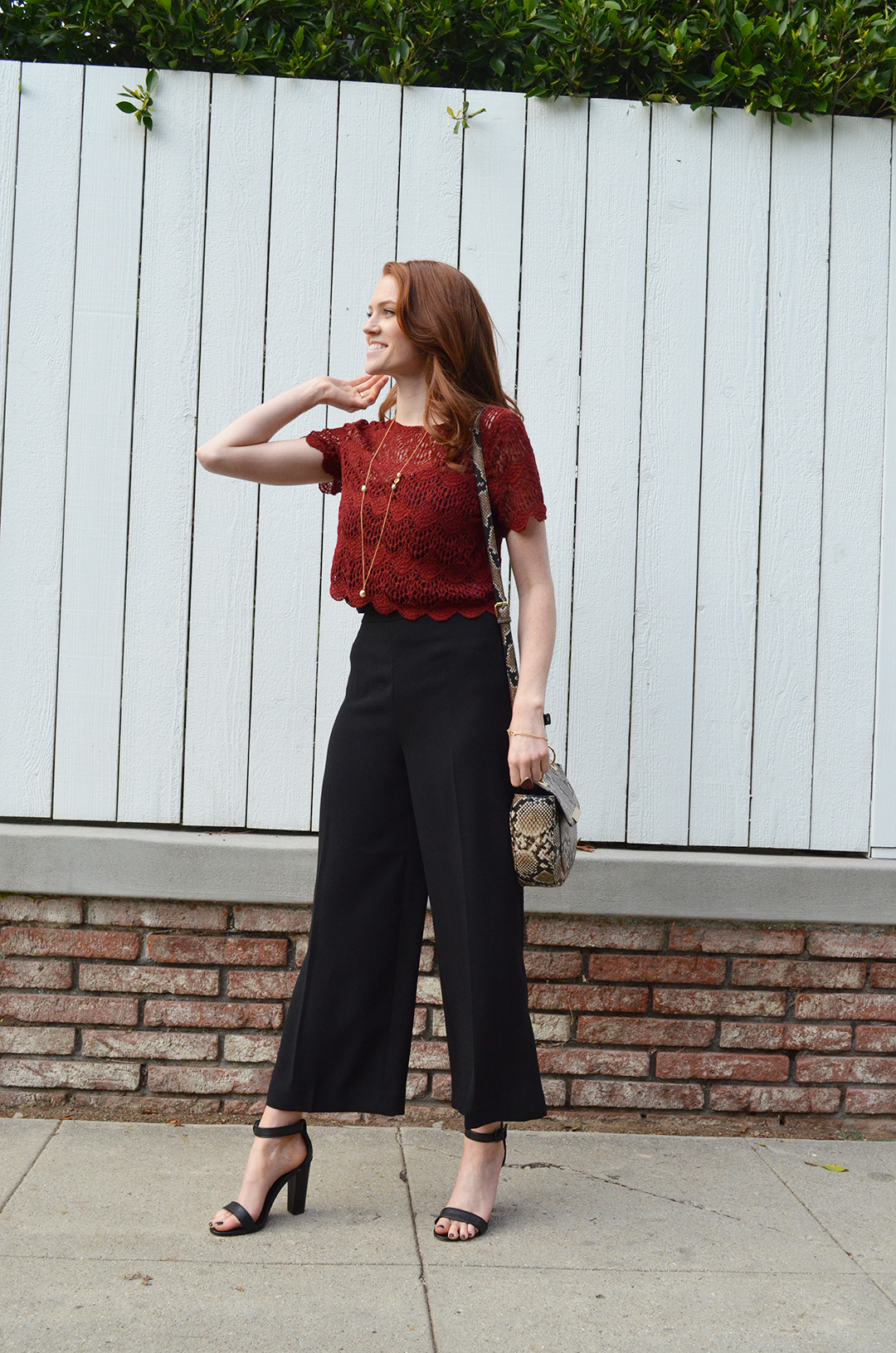 red lace crop top and high waisted black cullotes - www.whitneyhoy.com