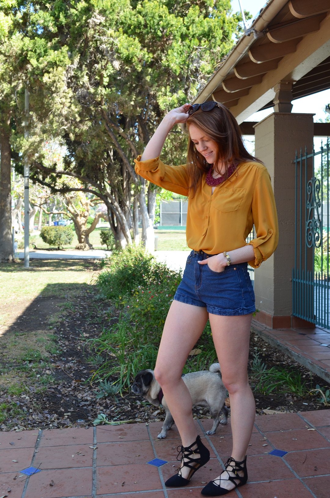 Walk In The Park - mustard & maroon - summer style - www.whitneyhoy.com