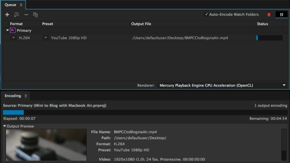 Exporting with Media Encoder