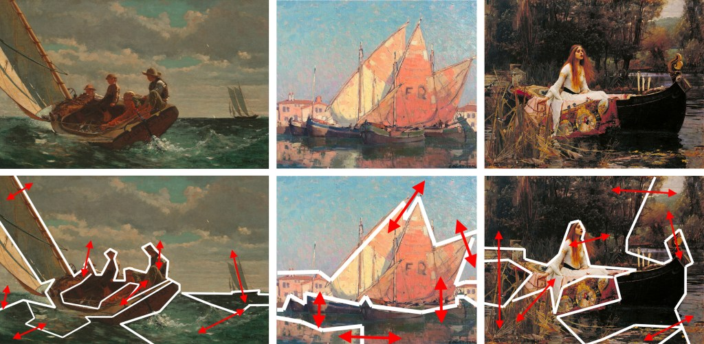 Even paintings full of multiple subjects or detail - or both - group into just a few main masses. (Arrows show main transitions between masses) Images courtesy of Wikimedia Commons*