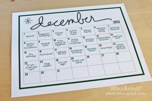 Elf on the Shelf Calendar 01