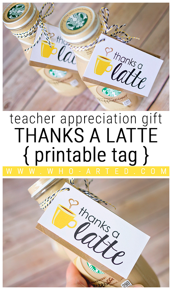 image about Thanks a Latte Printable referred to as Because of a Latte Instructor Appreciation Reward