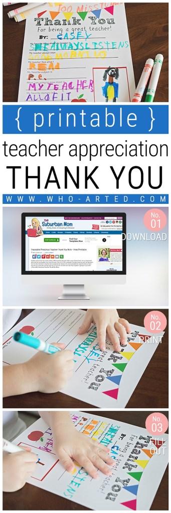 Teacher Appreciation Thank You Card {Free Printable}