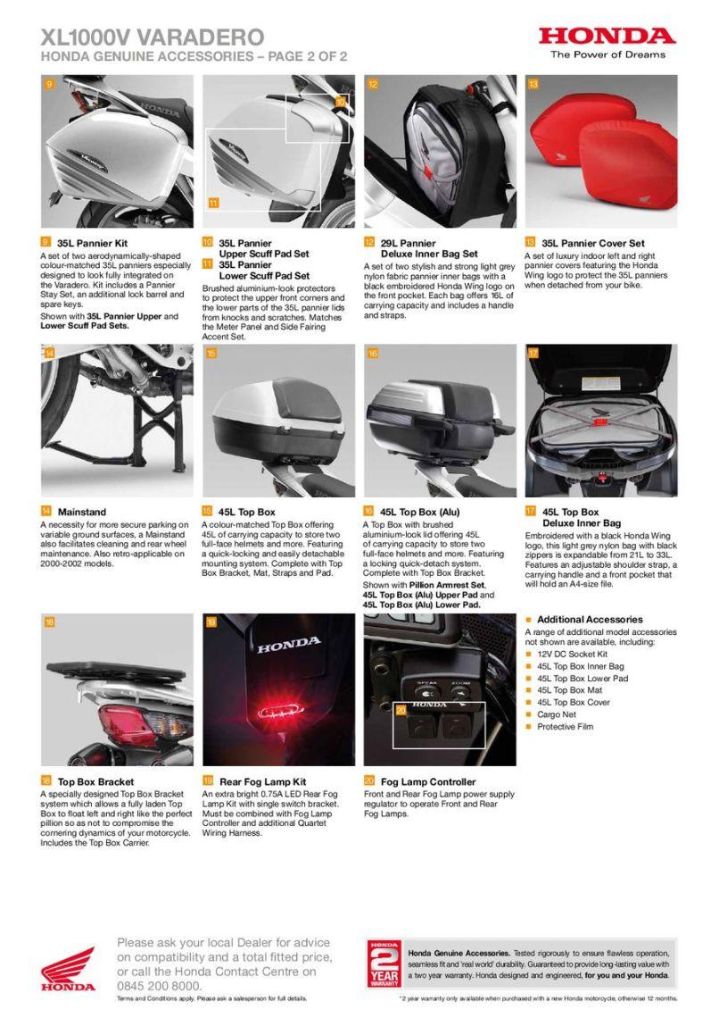 Honda Uk Motorcycle Accessories Catalogues
