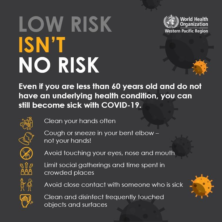 Low risk isn't no risk. Even if you are less than 60 years old and do not have an underlying health condition, you can still become sick with covid-19.