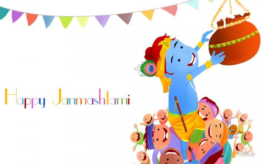Happy Janmashtami Cartoon Wallpaper