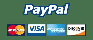Paypal, Visa, Mastercard, Amex and Discover logos