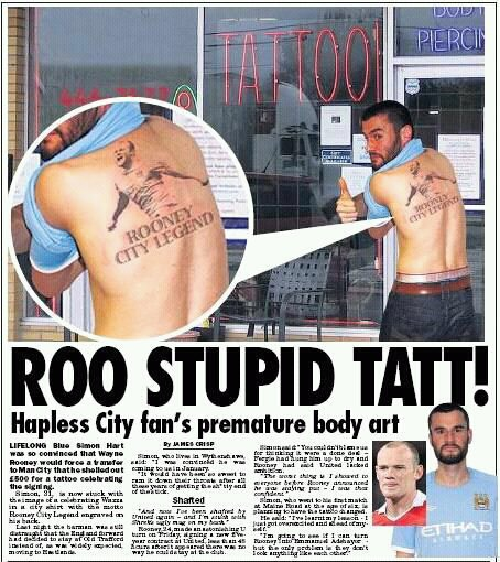 wayne rooney man city fan tattooo
