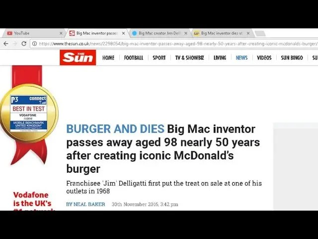 BREAKING NEWS!! Inventor of Big Mac DIES!! 1