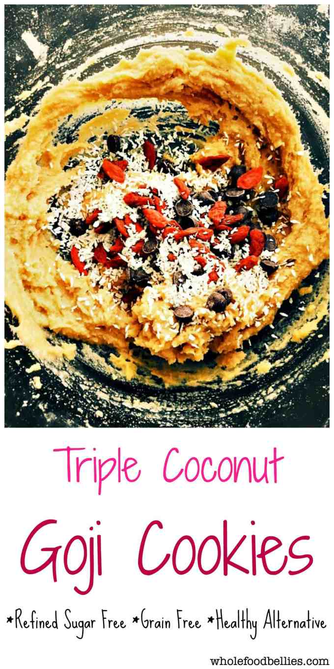 Triple Coconut Chocolate Chip Goji Berry Cookies are part cookie, part muffin and part coconut macaroon. Superfood cookies to the extreme.