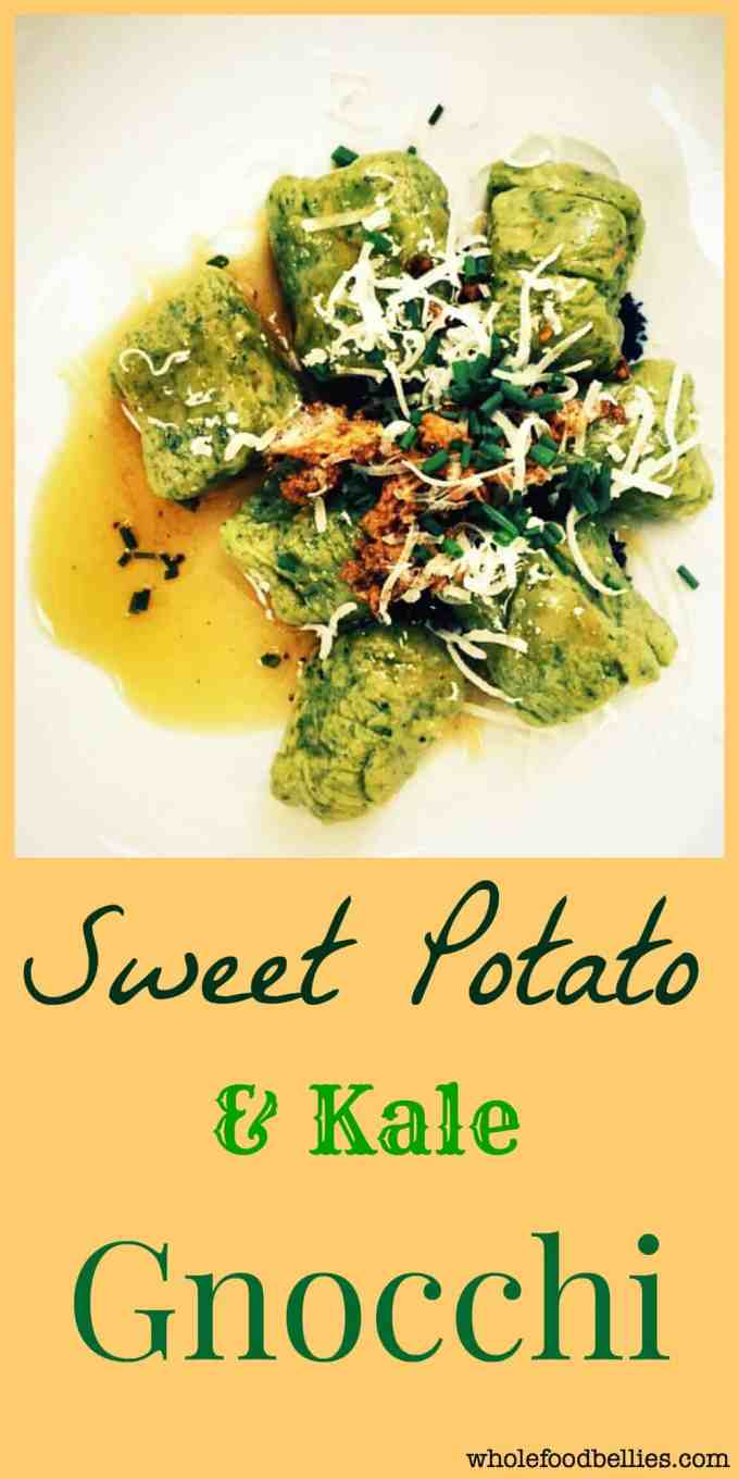 Sweet Potato and Kale Gnocchi is the perfect comfort food for a rainy night. Involve the kids in rolling the gnocchi and they will happily eat their greens