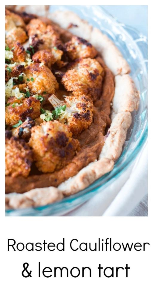 Crispy roasted cauliflower sits a atop a creamy tahini and cauliflower puree with just a hint of lemon. Perfect picnic food or as a main course paired with a dark leafy salad. #cauliflower #cauliflowerrecipe #tart