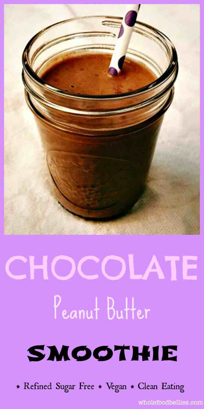 Enjoy a Chocolate Peanut Butter Cup Smoothie when the afternoon slump hits and you feel the need for a pick me up. All clean and real food ingredients.