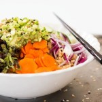 Rainbow Brown Rice and Sesame Vegetable Bowl