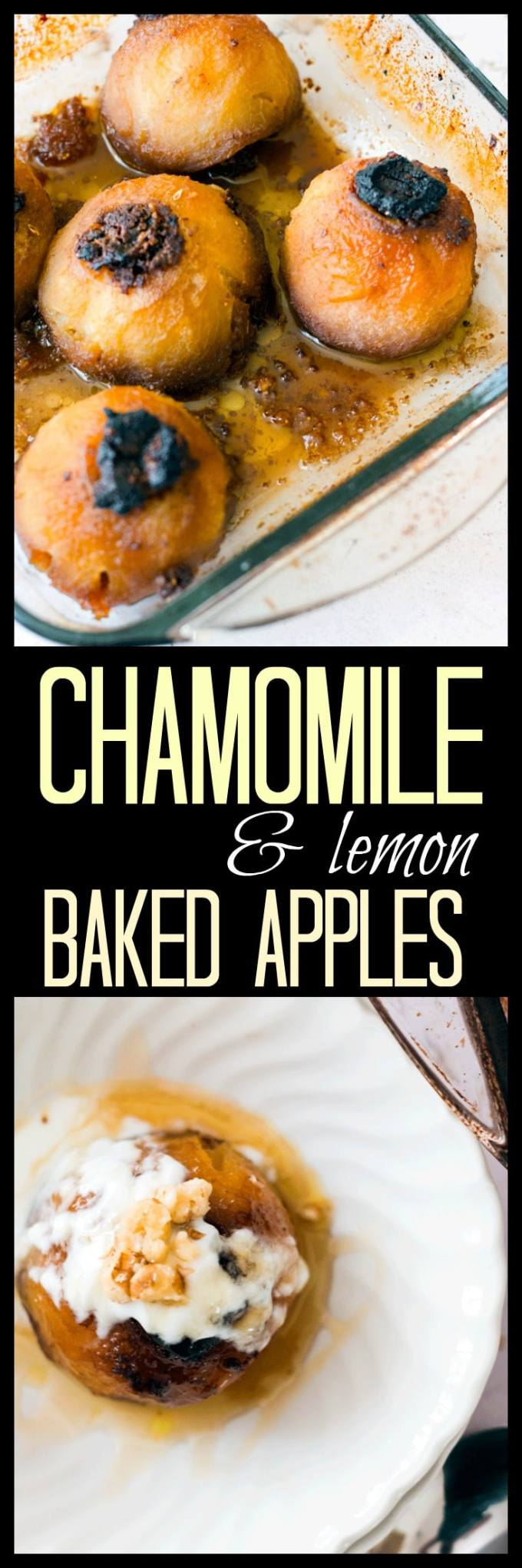 Chamomile and lemon baked apples are fabulous for dessert with some yogurt or ice cream, for breakfast with some granola or frozen and blitzed into a sorbet