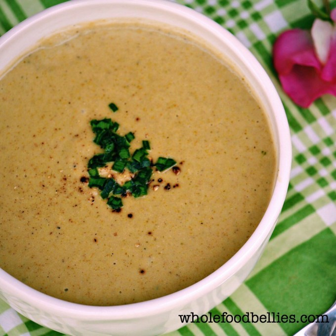 Cream of Broccoli and Pistachio Soup @wholefoodbellies.com