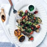 Marinated Grilled Chicken Kabobs with Zucchini and Quick Salsa Verde