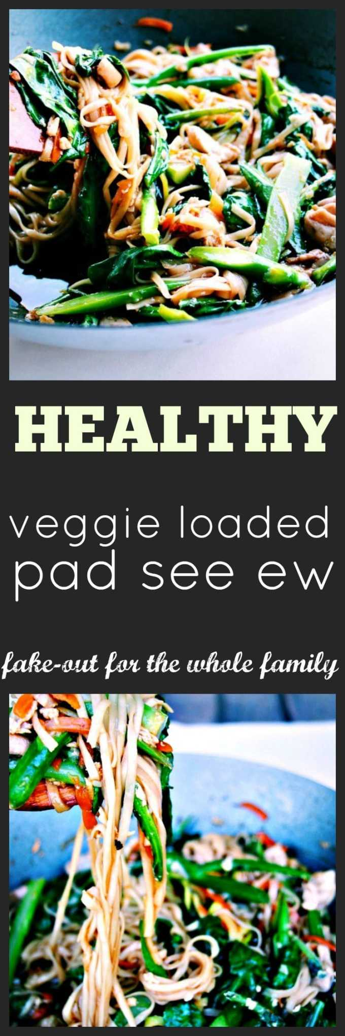 Healthy Loaded Pad See Ew fake-out sees your plate loaded with rice noodles and spiralised veggie noodles. Great for sneaking Veg