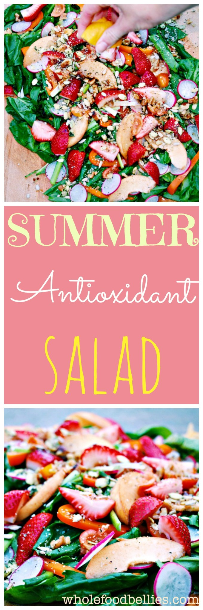 Fresh and vibrant, this Summer Antioxidant Salad is the perfect accompaniment to a lazy summer BBQ. Pile all the ingredients onto a chopping board, drizzle on the dressing and enjoy