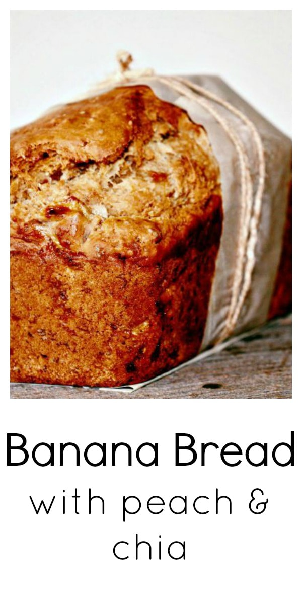 Banana and Peach Butter Bread wrapped in parchment paper and twine
