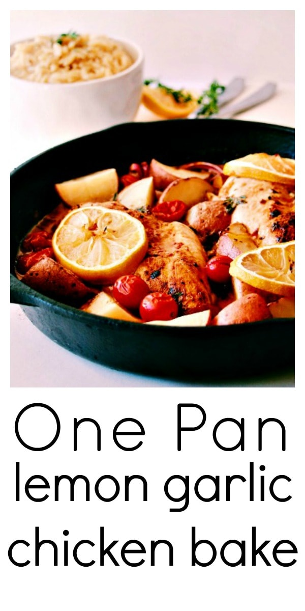 Lemon Garlic Butter Chicken Bake is the perfect one-pan dish packing a punch of flavor and is just great for a quick and easy weeknight dinner. Everything cooks together perfectly in one-pan, saving you some washing up. #chickendinner #onepan #easydinner #chickenrecipe