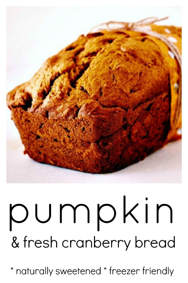 Pumpkin and Fresh Cranberry Bread is the perfect treat to enjoy with a cup of tea in the cooler months. Completely from scratch, naturally sweetened and full of goodness.