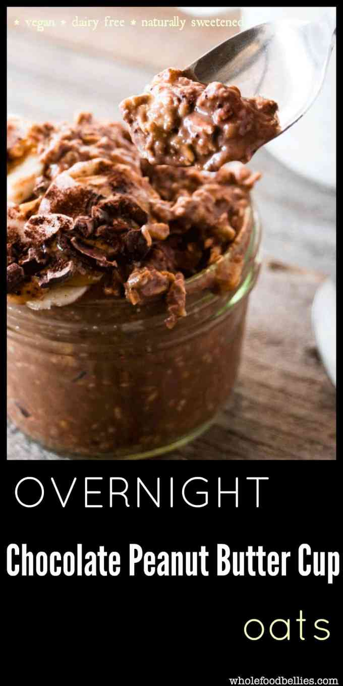 Overnight Chocolate Peanut Butter Cup Oats is sure to be your new favorite breakfast. Everything combines to make one pot of deliciousness