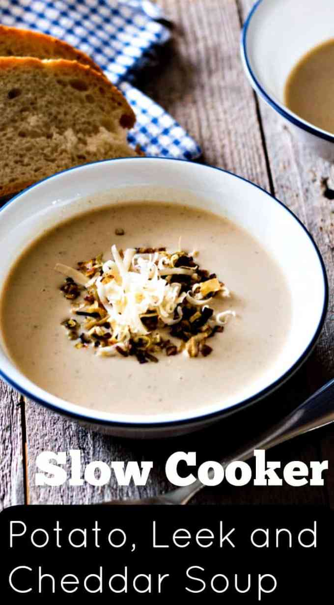 This recipe for a super cheesy slow cooker potato leek soup is the perfect set-n-forget meal to whip up in your crock pot on a cold winters night. Full of herbs and cheddar it is luxurious and creamy. Made from scratch soup.
