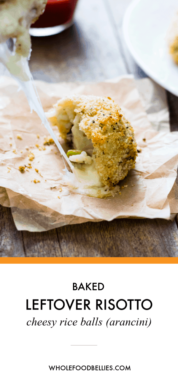 Baked Leftover Risotto Cheesy Rice Balls (arancini) are the perfect baked alternative to traditional arancini. Crispy and delicious, they are a great dish. via @wholefoodbellies #bakedaranciniriceballs #aranciniriceballs  #bakedarancinirecipe #aranciniballs