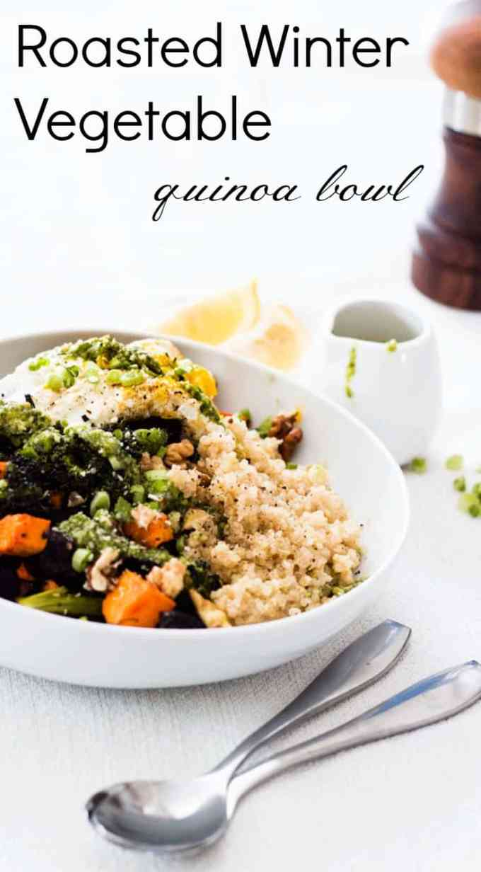 Winter Vegetable Quinoa Bowl with Basil Hummus. Loaded with perfectly roasted seasonal vegetables, fluffy quinoa and a delicious dressing.
