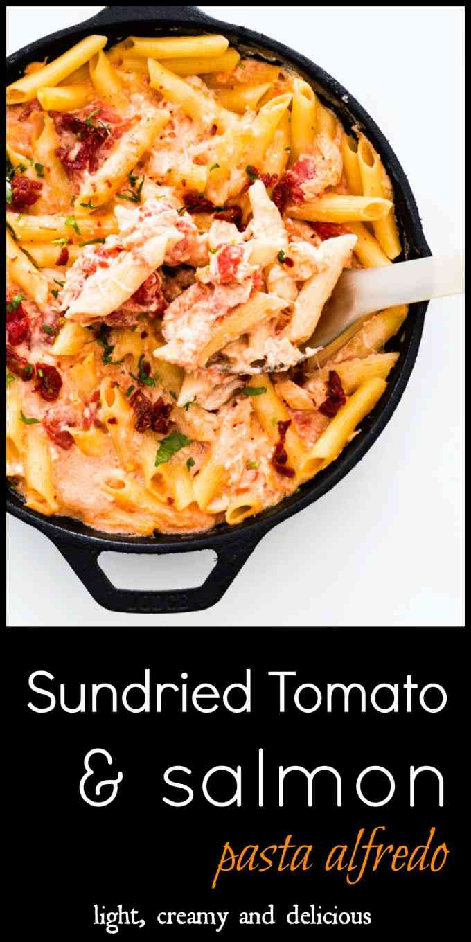 Sundried Tomato and Salmon Alfredo Pasta Bake