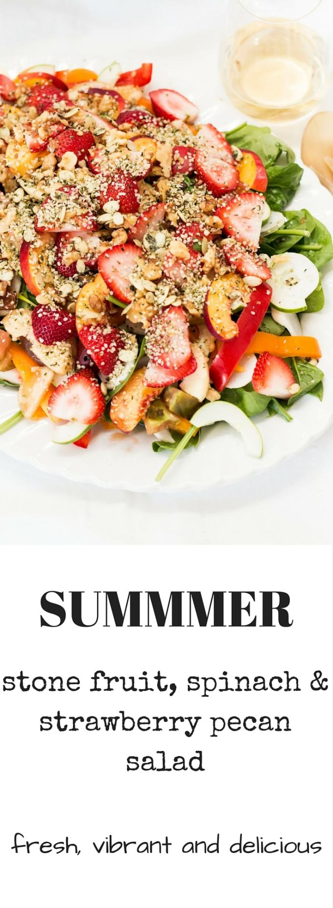 Fresh and vibrant, this Spinach Strawberry Pecan Salad is the perfect accompaniment to a lazy summer BBQ. Pile all the ingredients onto a chopping board, drizzle on the dressing and enjoy with a nice glass of rosé. #summersalad #saladrecipe #fruitysalad #summersaladrecipe