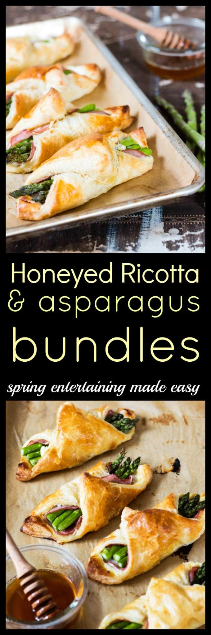Welcome springtime and all the brunches that come with it with these light and delicious Honeyed Ricotta and Asparagus bundles. Fancy but totally fuss-free