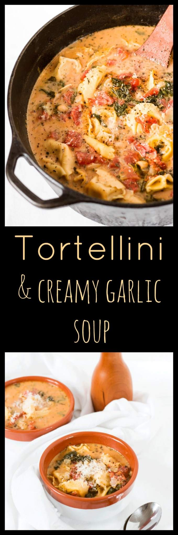 One Pot Tortellini and Creamy Garlic Soup. One pot, no fancy ingredients, freezer-friendly, kid-friendly and weeknight friendly. It ticks all the boxes