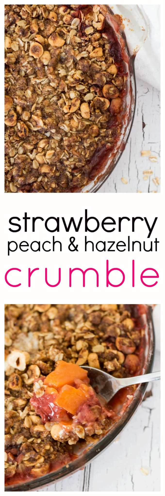 Gather together all of summer's delicious ripe strawberries and peaches and cram them into this delicious Strawberry Peach and Hazelnut Crumble. A delicious after dinner treat full of the goodness of whole grains, roasted hazelnuts and real fruit. No refined sugar needed.