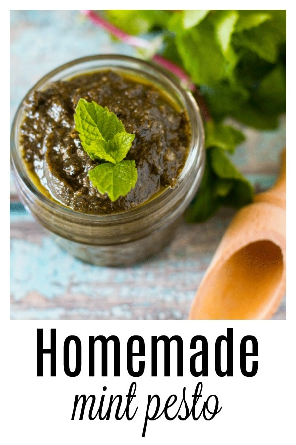 Use up surplus mint (we all know that stuff grows like crazy) with this quick and easy homemade 4 ingredient mint pesto which is fresh and zippy. The perfect accompaniment to fish, vegetables or a salad. It freezes well so you can preserve the season. #homemadepesto #growyourown #urbangarden #mint #pesto