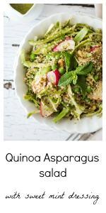 Close up shot of Quinoa Radish Pea Shaved Asparagus Salad in a white bowl