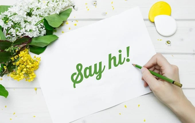 say hi in green writing