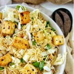Up close shot of Crunchy Noodle Salad with Crispy Tofu and Cabbage