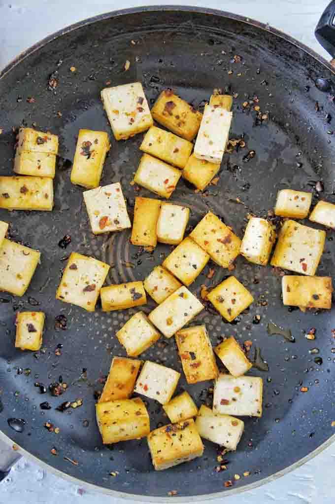 Tofu used for Crispy Tofu Noodle Salad