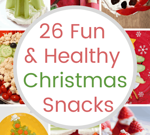 Collage of Fun and Healthy Christmas Snacks
