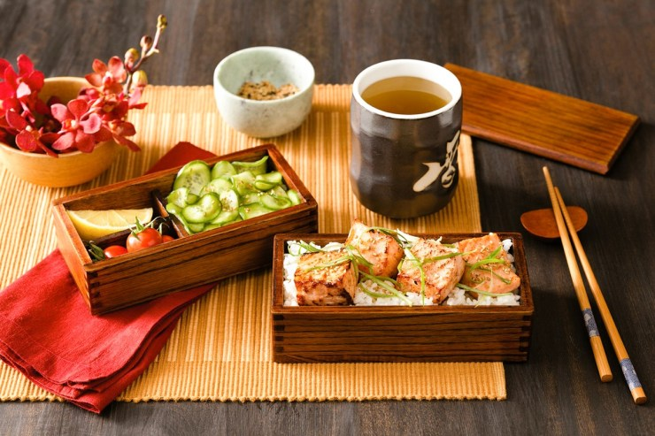 Japanese miso salmon bento box recipe with quick pickled cucumber - naturally dairy-free, gluten-free, and nut-free, with soy-free and paleo-friendly options