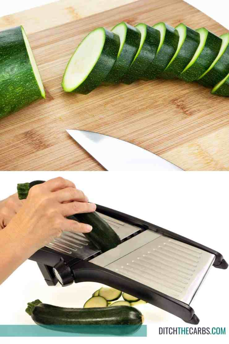 How to cut zucchini with a knife or mandolin
