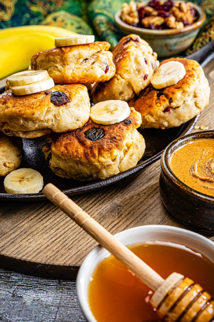 Plant-based saucepan scones recipe - healthy, dairy-free bannocks or scones for breakfast or tea time.  Vegan (no honey drizzle) with banana and nut free options