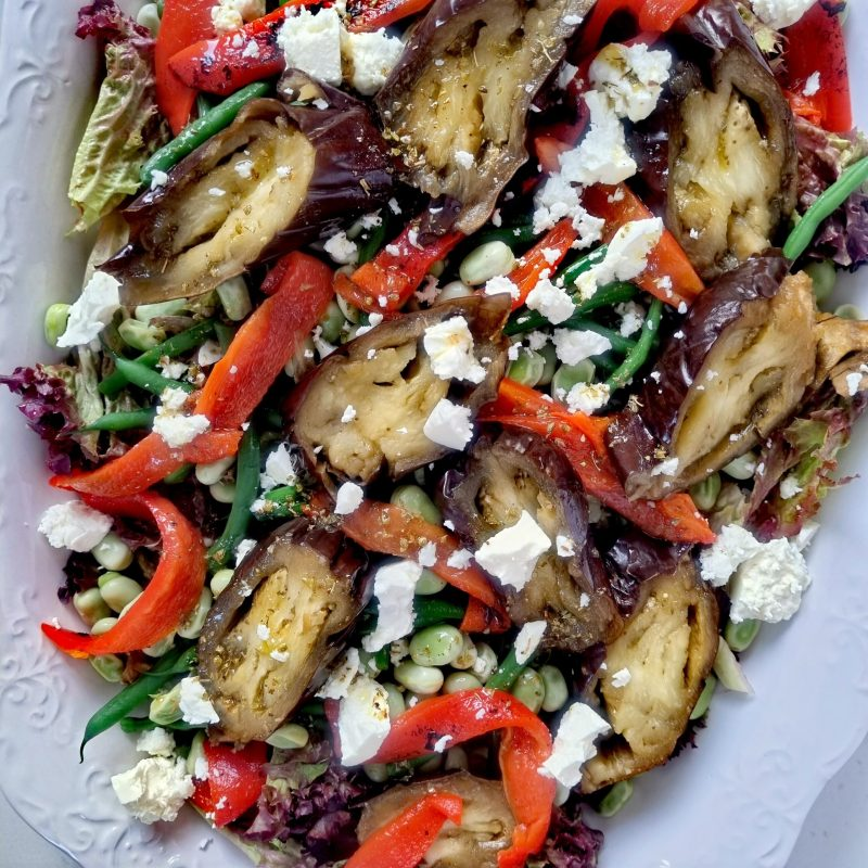 Attractive and delicious Roasted Aubergine, Red Peppers and Bean Salad