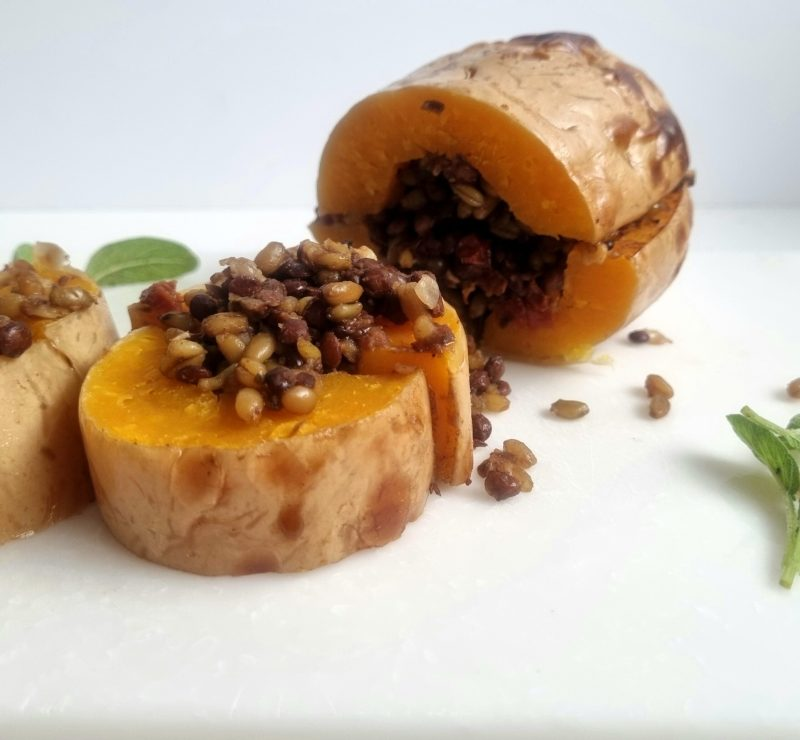 Delicious any day of the week, but this stuffed butternut squash is really wonderful as a vegetarian option for your Sunday Roast.