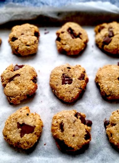peanut butter banana oat biscuit fresh out of the oven on a baking tray